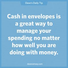 Envelope system to help budget and save money – Dave Ramsey Quote. Financial Quotes, Financial Peace, Financial Tips, Ways To Save Money, Money Saving Tips, Money Tips, Saving Ideas, Managing Money, Budgeting Finances