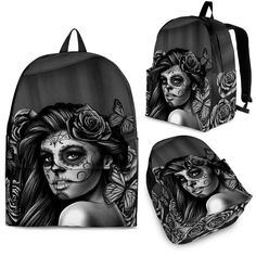 Features ergonomic shoulder straps with dynamic size adjustment for the perfect-fit. Fully padded back panel with breathable mesh fabric. One large main compartment with a front utility pocket for easy organization. 3 sizes - Child, Youth and Adult Stylish Backpacks, Girl Backpacks, Day Of Dead Tattoo, Calavera Tattoo, Black And White Backpacks, Designer Backpacks, Black Backpack, Mesh Fabric, State Art