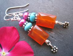 Dainty+Gemstone+Dangle+Earrings+Carnelian+by+sunrisetreasures
