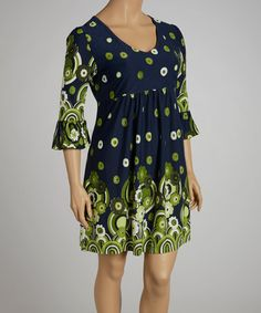 Take a look at this Navy & Green Floral Dress - Plus by Reborn Collection on #zulily today!