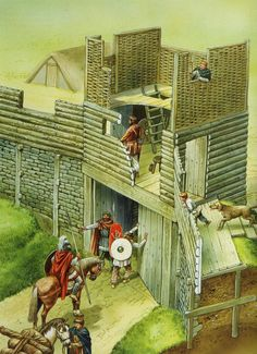 Artist-Reconstruction-of-the-South-west-gate-Illustrated-by-Peter-Dennis-Source-British-Forts-in-the-Age-of-Arthur-. Medieval World, Medieval Castle, Ancient Rome, Ancient History, Forte Apache, Military History, Military Art, Rome Antique, Roman Britain