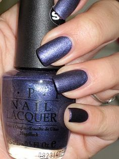 """""""Ink Suede"""", by O.P.I. (purple-ish blue . . . or blue-ish purple) well...I guess I will pin another nail polish. I like it."""