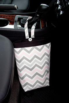 Car Trash Bag CHEVRON RED Women Men Litter Auto Accessories Organizer Caddy