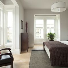 Master bedroom, white, grey, natural fibers & textures, greenery