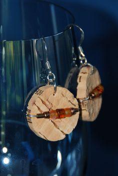 Beaded Wine Cork Earrings