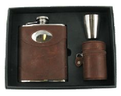Brown Leather Hip Flask Gift Set This is one of our very popular engraved hip flask models and is always available. Plus Our Personalised and Engraved Hip Flask service is always free simply add free hip flask engraving when placing you order.