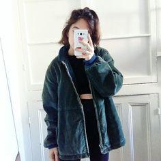 Vintage oversized dark teal corduroy sherpa jacket