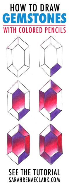 How to Draw Gemstones with Colored Pencils - Adult Coloring Tutorial This adult coloring tutorial will walk you through the steps to color gems with colored pencils. This coloring technique is easy to learn and produces amazing gemstones for your coloring Coloring Tips, Doodle Coloring, Adult Coloring, Colored Pencil Tutorial, Colored Pencil Techniques, Colorful Drawings, Easy Drawings, Juwel Tattoo, Gem Drawing