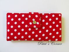 Handmade wallet for women - red with white dots - custom order - vegan clutch - cotton purse - gift for her by PatrisCorner on Etsy