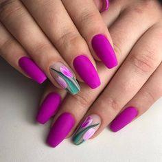 nails - Flower nail art, tulip on negative space Cute Acrylic Nails, Acrylic Nail Designs, Cute Nails, Pretty Nails, Nail Art Designs, My Nails, One Stroke Nails, Design Art, Tulip Nails