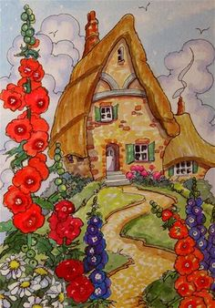 """Daily Paintworks - """"Life on the Hill Storybook Cottage Series"""" - Original Fine Art for Sale - © Alida Akers"""