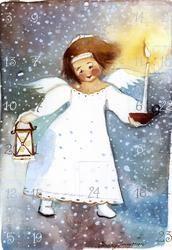 Postcrossing postcard from Finland Angel Illustration, Winter Illustration, Christmas Illustration, Christmas Tale, Christmas Angels, Vintage Christmas, Christmas Artwork, Christmas Paintings, Watercolor Postcard