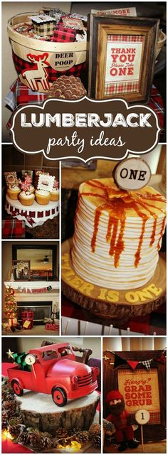 """Here's an incredible lumberjack first birthday! You have to see the pancake cake on slide 9! See more party ideas at <a href=""""http://CatchMyParty.com"""" rel=""""nofollow"""" target=""""_blank"""">CatchMyParty.com</a>!"""