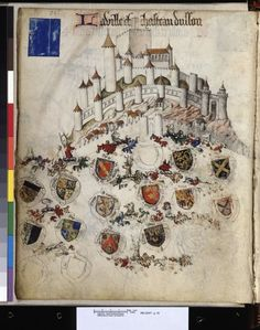 Sur les terres des Bourbon : l'armorial de Revel Medieval Times, Medieval Art, Medieval Manuscript, Illuminated Manuscript, Roi Charles, Stippling Art, Historical Art, Dark Ages, Coat Of Arms