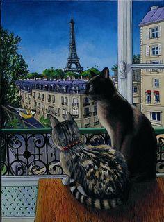 Cats in the window in Paris - Isy Ochoa