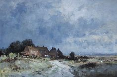Edward Seago Norfolk - Cottages by the Marsh Oil on board - Portland Gallery, London Watercolor Landscape, Landscape Paintings, Landscapes, Norfolk Cottages, Norfolk Broads, English Artists, Post Impressionism, Impressionist Paintings, Art Techniques