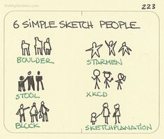 6 simple sketch people. Always handy to be able to draw some quick sensible looking people. Worth practicing.