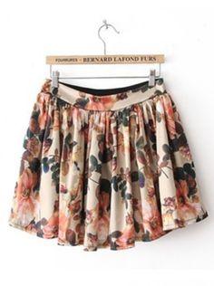 Beige High Waist Floral Pleated Skirt Floral Pleated Skirt, Floral Skirts, Floral Print Skirt, Chiffon Skirt, Dress Skirt, Floral Chiffon, Waist Skirt, Printed Skirts, Vintage Prints