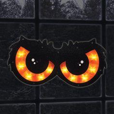 Lighted Orange Owl Eyes  Window Decoration
