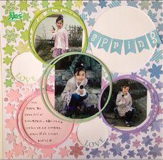 アルバムアドバイザー ブログリレー Spring Theme, Creative Memories, Page Layout, Photo Book, Birthday Cards, Sketches, Diy Crafts, Album, Frame