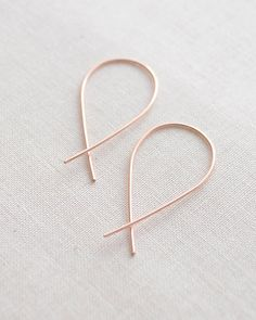 Inverted Hoop earrings by Olive Yew. Uniquely handmade in gold, rose gold or silver. #handmadejewelry