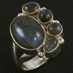 Natural LABRADORITE Gemstone 925 Sterling Silver Ring Size US 8 ! Christmas Gift #Unbranded