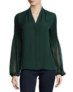 """Elie Tahari """"Georgia"""" silk blouse features pleated detailing and smocked and embellished sleeves. Partial stand collar; V neckline; concealed button front. Long semisheer bishop sleeves; gathered cuff"""