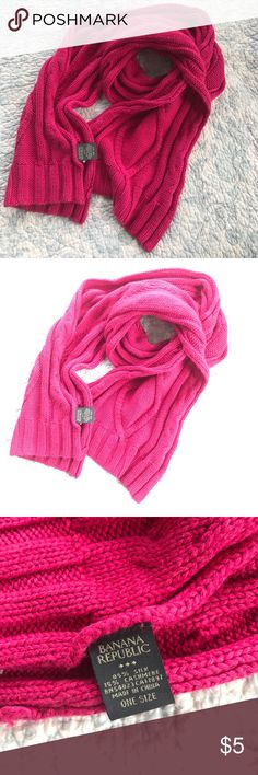 Banana Republic silk/cashmere scarf Cable knit scarf. Fuchsia in color 52 inches long. 9 inches wide. Banana Republic Accessories Scarves & Wraps