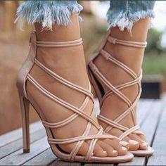 High Heel Shoes Sandals Women's Ankle Strap Pump Party Dress Open Toe Absatzschuhe Sandalen Damen Knöchelriemen Pump Party Kleid Open Toe mode Black High Heels, High Heels Stilettos, High Heel Boots, Stiletto Heels, Shoes Heels, Heeled Sandals, Sandals Outfit, Strappy Heels, High Shoes
