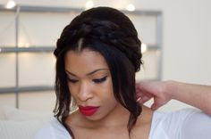 A sweet milkmaid braid tutorial for short-haired brides | Offbeat Bride