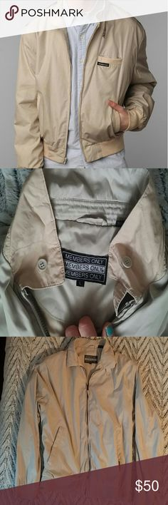 Members Only Vintage Jacket in Khaki Size Large This is a vintage Members Only Jacket in a light khaki color. Soft lined windbreaker. Good used condition. Light pen mark on the lower back that is barely noticeable. Size large. Looks awesome as f on men and women. First photo is a stock photo of a similar jacket, but the modern version. Ask me for details etc. Members Only Jackets & Coats Windbreakers