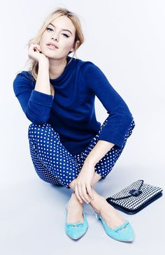 Boden Tilly Jumper, Chelsea turn Ups, Milan Clutch & Polly Points. #SS15