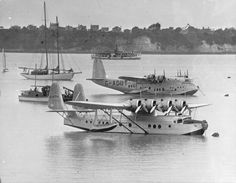 Imperial Airways S.23 Mk II 'Bermuda' variant of the Empire (or: 'C-') Class flying boat 'Centaurus' G-ADUT (s/n: S.811) on the waters of Auckland Harbour 26 December 1938. The Mk II 'Bermuda' variant enjoyed an increased fuel capacity of 1,010 Imperial gallons and a range of 1,078 nm (1,998 km).  In the foreground: a Pan American Sikorsky S-42 on its first visit to NZ, a year after the inauguration of service by Imperial Airways.