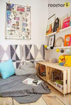 Kids reading nook diy crate book storage for reading corner home interior decor items . Childrens Reading Corner, Reading Nook Kids, Cozy Reading Corners, Cotton Ball Lights, Kid Spaces, Kids Decor, Kids House, Kids Bedroom, Decoration