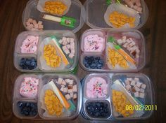 What's in our lunch boxes: Cubed turkey, cheese stick, goldfish crackers, strawberry yogurt with sprinkle, and blueberries. From Jennifer Horn via the EasyLunchboxes Facebook wall. Thanks Jennifer!
