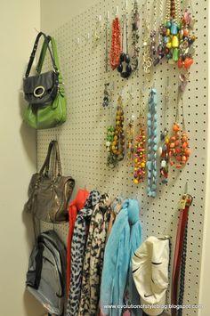 Peg board in closet