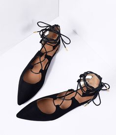 Black Faux Suede Lace Up Pointed Toe Flats