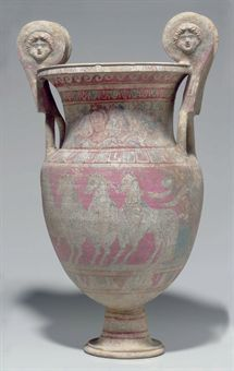 Terracotta Two Handled Vase Canosa Di Puglia Greek Greek Greek Paintings, Greek Pottery, Roman Sculpture, Byzantine Art, Greek Art, Ancient Artifacts, Ancient Greece, Archaeology, Les Oeuvres