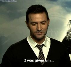 """(Gif set) Interviewer: So what did you nick from the set as part of your retirement plan? """"Um…I didn't steal anything but…"""""""
