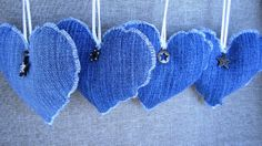 Denim Hearts: Turn your old jeans into denim heart ornaments or stuff them with potpourri to scent up your home. See tutorial here.   Source: Etsy User LivingSoLovely . could embroider, embellish with flowers, lace, buttons