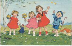alte AK Pfingsten, sign Fritz Baumgarten, 4 Kinder spielen auf der Wiese