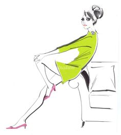 Lady in green, fashion illustration by Jacqueline Bissett