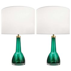 Carl Fagerlund for Orrefors |Green Glass Lamps