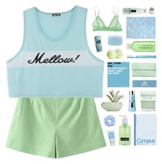 """""""mellow"""" by anavukadinovic ❤ liked on Polyvore featuring Eos, Chen Chen & Kai Williams, A.P.C., Nokia, Clinique, adidas, Aveda, Eberjey and Korres"""