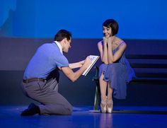 Leanne Cope being drawn by Robert Fairchild in Christopher Wheeldon'sAn American in Paris,Théâtre du Châtelet,December 2014.© Angela Sterling. Cope is delicious as gamine Lise, singing two solo songs commendably well. She's also a noticeably better dancer than the supporting corps. Fairchild is on another level as a triple-treat performer – good actor, fine singer and star dancer. He carries the show, as Gene Kelly did the film.