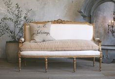 Vintage Shabby Louis XVI French Style Gilt Settee ... love the single seat cushion in a different fabric!