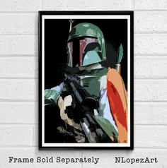 Star Wars Boba Fett Mandalorian Bounty Hunter Pop Art Poster Print #3 Size 11 x 17 by NLopezArt on Etsy