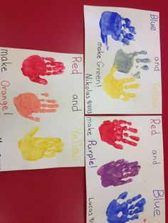 Preschool color mixing -Paint each hand a different primary color then have the…