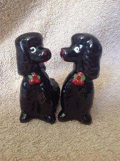 Vintage Black Poodle / Dog Salt & Pepper Shakers, Japan