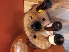 Oak Log Wine Rack by CampSmoke on Etsy, $250.00